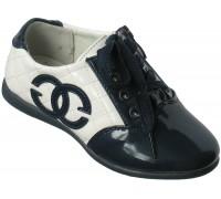 Туфли лаковые на девочек шнурки + замок «Царевна» (27-32), T-7 белый с синим