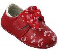 Туфельки для малышей на липе с бантиком «Царевна» (20-25), E-09 красные