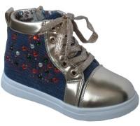 Ботиночки демисезонные для девочек шнурок-замок, «Царевна» (27-32), Z-103 золото
