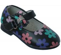Туфельки для девочек «Цветочек» (21-26), L-29 темносиние