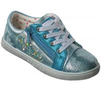Туфли детские спортивные на девочек шнурки и замок « Дракоша» (26-31), 101-12-2 голубой перламутр