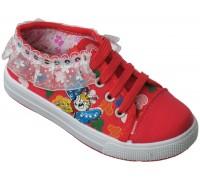 Кеды для девочек на шнурках «Fashion» (28-33) красные