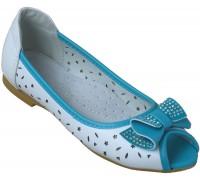 Балетки для девочек «Котенок» бело-голубые