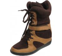 Сникерсы женские зима шнурки + замок «Lallita» (36-40), A756-J0901 с рыжим