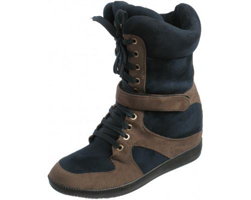 Сникерсы женские зима шнурки + замок «Lallita» (36-40), A756-J0901 с коричневым