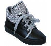Ботиночки для девочек демисезонные «Ромашка» черные