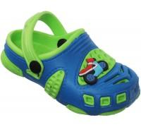 Сандали пляжные детские «Совенок» синие с зеленым