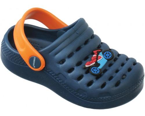 Кроксы «Совенок» темно-синие с оранжевым