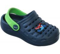 Сандали пляжные детские «Совенок» темно-синие с зеленым