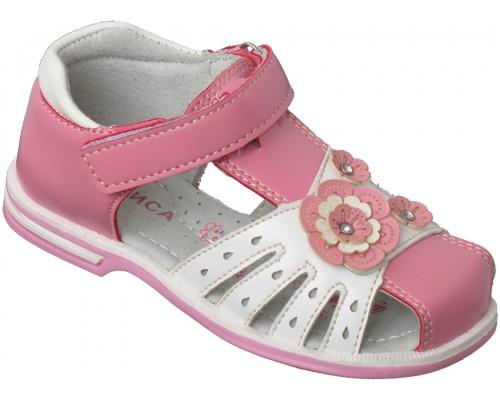 Сандали детские для девочек «Алиса» розовые с белым