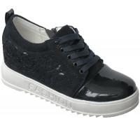 Слипоны подростковые для девочек, на скрытой платформе, шнурки + замок «Biraces» (33-38), E4367 темно-синие