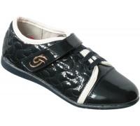 Туфли лаковые для девочек на липе «Царевна» (31-36), T-8-1A темно-синие