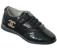 Туфли лаковые для девочек на липе «Царевна» (27-32), T-9 темно-синие