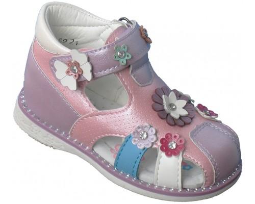 Сандали детские для девочек «Царевна» розовые с сиреневым