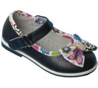 Туфельки на девочек «Цветочек» (21-26), L-1 темно-синие