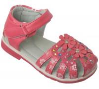 Сандалии детские для девочек «Цветочек» коралловые