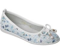 Туфли «Котенок» белые с голубым
