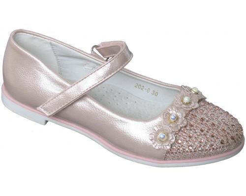 Туфли праздничные «Котенок» розовый перламутр