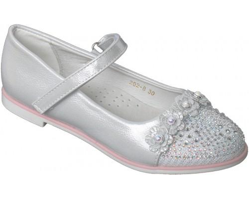 Туфли праздничные «Котенок» серебро