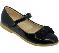 Туфли школьные, для девочек «Ладья» черный лак