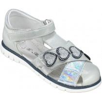 Сандалии детские для девочек «Леопард» серебро