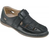 Туфли школьные для мальчиков «Леопард» черные