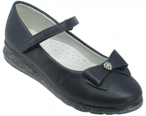 Туфли школьные, для девочек «Ладья» темно-синие