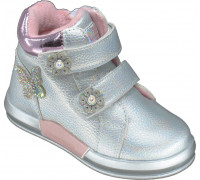Ботинки демисезонные для девочек «Пчелка» серебро