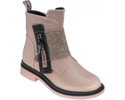 Ботинки демисезонные для девочек «Пчёлка» бежево-розовые