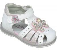 Сандалии детские, мигающие, для девочек «Пчелка» белые с розовым