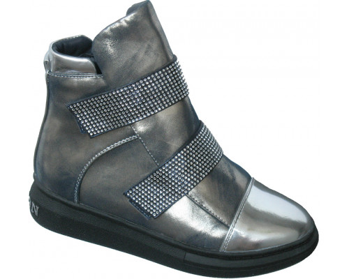 Ботинки «Ромашка» голубое серебро