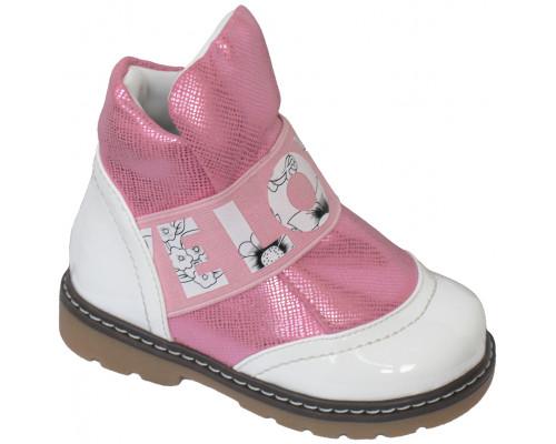 Ботинки «Ромашка» белый лак с розовым