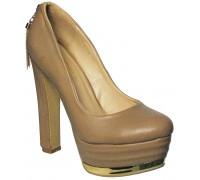 Туфли на высоком каблуке и платформе женские Sirleenna бежевого цвета