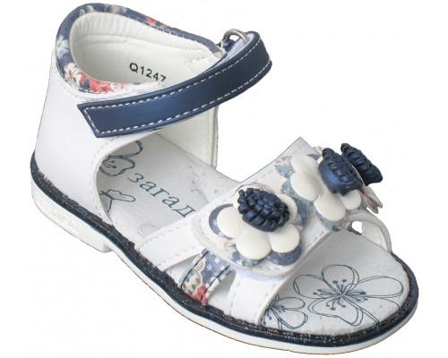 Сандалии детские для девочек «Загадка» белые с синим