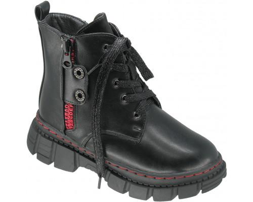Ботинки зимние детские для девочек «B&G» черные