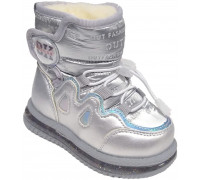 Сапоги зимние, мигающие, детские, для девочек «Paliament» серебро