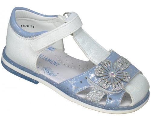 Сандалии детские для девочек «Paliament» белые с голубым